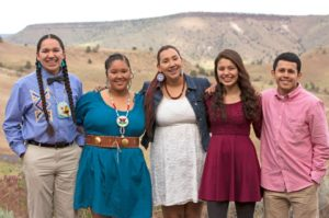 Gavin Begay, Alawiikt Keeyana Yellowman, Ashley Meanus, Malia Collins, and Mitchell! Lira are starting a Warm Springs Youth Councl as part of their Gen-I Challenge. Photo: Alyssa Macy/Spilyay Tymoo.