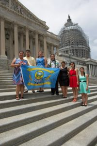 Warm Springs Youth Council at the Nation's Capitol! (L to R): Keeyana Yellowman (Madras HS), Mitchell Lira (Chemawa/U of Oregon), Ashley Meanus (Madras HS), Gavin Begay (Madras HS), Summer Brunoe (Central Christian School - Redmond), Malia Collins (South Wasco County HS), Feliciana Conner (Madras HS)